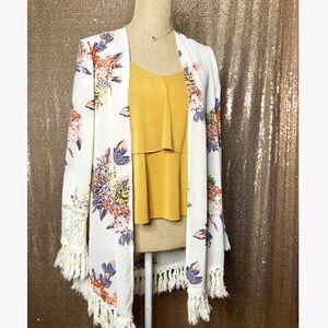 White Floral Open Kimono Cardigan Tassels Lace